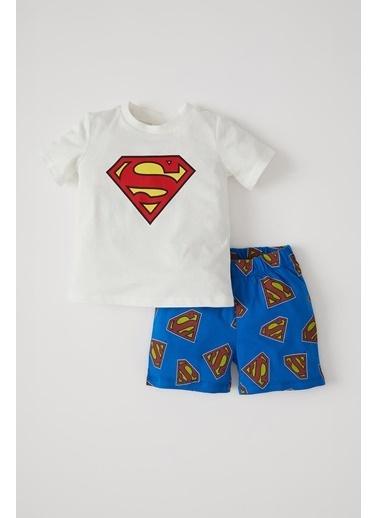 DeFacto Erkek Bebek Süperman Lisanslı Kısa Kol Pijama Takımı Beyaz